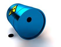 3d blue barrel radioactive waste. Isolated on white Royalty Free Stock Photo