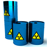 3d blue barrel radioactive waste. Isolated on white Stock Images