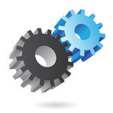3d blue and black cogs Stock Photography