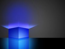 3d Blue box. Design about something out Royalty Free Stock Image