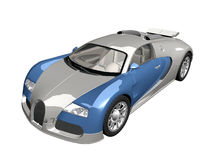 3d blue car. Sport car isolatet on the white background Royalty Free Stock Photo