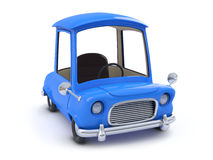 3d Blue cartoon car side view Royalty Free Stock Photo