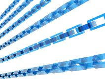 3D blue chains royalty free illustration