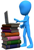 3d blue character books and laptop. This 3d blue character and jis laptop on the books Stock Photos