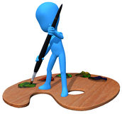 3d blue character paint. The 3d blue character is start to paint vector illustration