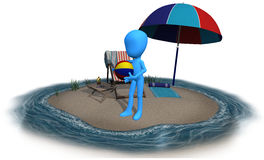 3d blue character summer time. The 3d blue character is his own island having a summer time Royalty Free Stock Image