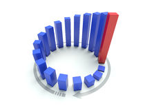 3D blue circular graph. On white Stock Photography