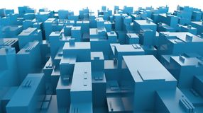 3D blue city panorama of abstract future. 3D blue city panorama and skyscrapers in future Royalty Free Stock Photos