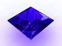 3d blue cobalt cut large princess sapphire Royaltyfri Foto