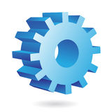 3d blue cog. Icon on white background Stock Images