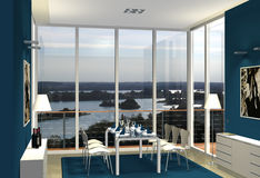 3D blue dining room. Virtual modern dining room with a view to a lakeland Royalty Free Stock Photo