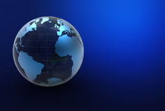 3d blue earth. 3d globe on blue background Stock Images