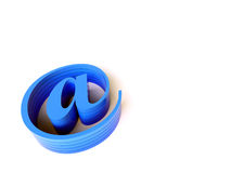 3d blue email sign. 3d rendered image. Blue email symbol on a white background Royalty Free Stock Photography