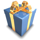 3D blue Gift. 3d gift isolated on white background Royalty Free Stock Photos