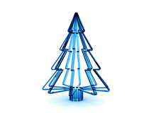 3D blue glass Christmas tree. Rendered blue glass Christmas tree. Isolated on a white background Stock Photography