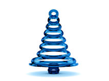 3D blue glass Christmas tree. Rendered blue glass Christmas tree. Isolated on a white background Royalty Free Stock Image