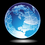 3D Blue Globe. A set 3D blue globe with black background Stock Image