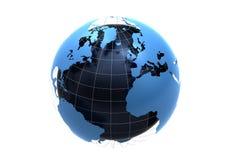 3d blue globe. Isolated on white background Stock Image