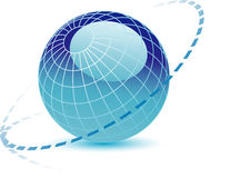 3D Blue Globe. A 3d illustrated background of a blue digital globe with an ecliptic around it Royalty Free Stock Photo