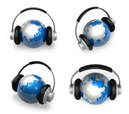 3d blue globe and headphone Stock Images