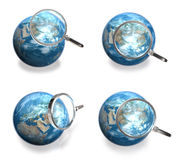 3d blue globe range and magnifier four set Stock Image