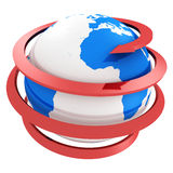 3d blue globe with spiral red arrow Stock Photo