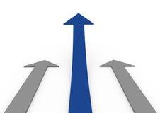 3d blue gray arrow high Stock Photo
