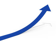 3d blue gray arrow high Stock Photos
