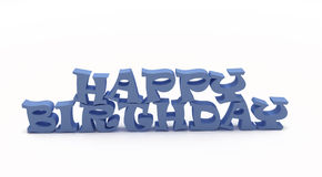 3D Blue Happy Birthday. On white background Royalty Free Stock Photo