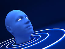 3d blue head. 3d head on blue background Royalty Free Stock Image
