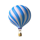 3d blue hot air balloon. Isolated on white 3d blue balloon Stock Photos