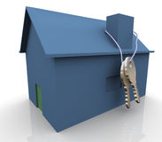 3d blue house and keys Stock Photos