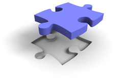 3d blue jigsaw puzzle Stock Image