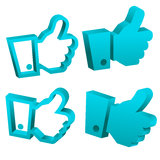 3D Blue Like It Hand Icons. Vector set of blue 3d hand icons Stock Photography