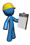 3d Blue Man with Clipboard, a supervisor. 3d Blue Man supervisor holding a clipboard and ready to manage other workers Stock Image