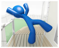 3d Blue Man Falling Down Injury Illustration Royalty Free Stock Photography