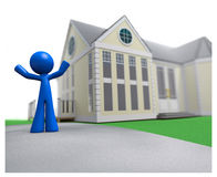 3d Blue Man Happy Over New House Real Estate. This man is loving his new house. He's happy, rejoicing, arms in air Stock Photography