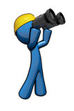 3d Blue Man with hard hat and binoculars. 3d Blue Man searching up looking toward sky or roof, on job site Royalty Free Stock Photography