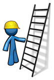 3d Blue Man with Ladder. 3d Blue Man beside a ladder giving a course in safety or ready to climb Royalty Free Stock Photo