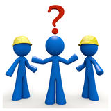 3d Blue Man with Question Mark. Which contractor? A 3d blue man wonders which contractor he will use for the job Stock Photography