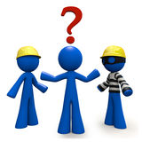 3d Blue Man with Question Mark. Which contractor? A 3d blue man wonders which contractor he will use for the job. One contractor is a thief Royalty Free Stock Images