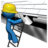 3d Blue Man Replacing Gutters. Under roof Stock Image