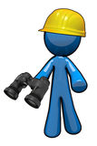3d Blue Man Surveyer Holding Binoculars. 3d Blue Man surveyer with hard hat and binoculars ready to scout building site Stock Photo