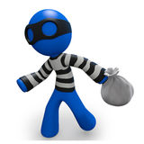 3d Blue Man thief running with bag of loot Stock Photography