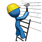 3d Blue Man Working on Roof, Roofer Professional. 3d Blue Man roofer professional working on a roof with a hammer, hard hat, and ladder Royalty Free Stock Photo