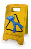 3d Blue Man Yellow Caution Sign Stock Photos