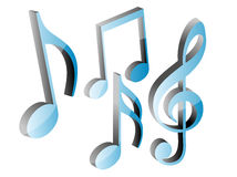 3D blue music notes set. In white background Stock Photography