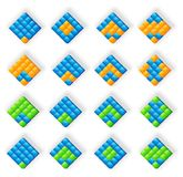 3D blue orange green logos. For www, company Stock Photo