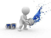 3d blue painter Royalty Free Stock Photo