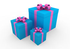 3d blue pink white gift box. Isolated on white background Royalty Free Stock Photos